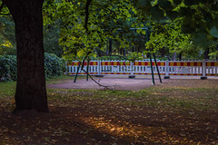 Silence (pni) Tags: light tree grass playground fence suomi finland leaf helsinki quiet swing trunk helsingfors skrubu pni pekkanikrus abandonedplaygrounddreams