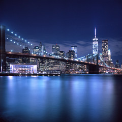 Brooklyn Bridge, East River, Manhattan Downtown and One World Trade Center, New York (Rafakoy) Tags: city longexposure bridge urban newyork 120 tlr film water colors skyline brooklyn night mediumformat reflections square lights downtown cityscape fuji manhattan dumbo slide scan brooklynbridge eastriver epson positive tungsten e6 80mm brooklynbridgepark yashicac freedomtower fujichromet64 yashikor80mmf35 oneworldtradecenter epsonv600 epsonperfectionv600
