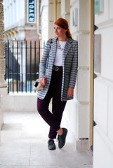 Grey striped blazer with loose fit pants (Not Dressed As Lamb) Tags: red fashion hair necklace stripes over redhead statement 40 blazer over40 fitflops