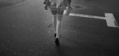 Legs (Timothy Slessor) Tags: street city urban blackandwhite cute sexy stockings girl monochrome japan night tokyo fuji legs candid mysterious fujifilm akihabara grainy akiba maid fujinon akb maido xe1 23mm