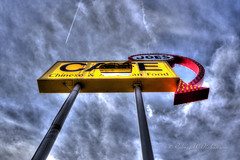 Joe's Cafe Sign on Route 66 in Winslow, Arizona in HDR (eoscatchlight) Tags: arizona abandoned broken restaurant cafe route66 roadsideamerica hdr winslow fallingapart restaurantsign joescafe photomatix cafesign fadingamerica