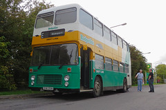 Adrian and Matt check coolant levels on  DHW351W Bristol VR in Badgerline livery at Membury Services 17.10.2014 (4) (The Cwmbran Creature.) Tags: trip bus heritage simon dan mike beer bristol rally event v r stanley carl adrian sue messenger creature isle vr wight hewlett boozy 2014 cwmbran brunnock