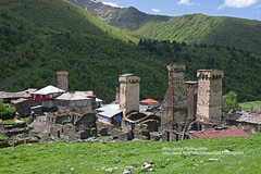 Lower Ushguli (blauepics) Tags: world mountains tower heritage georgia landscape site europe dorf village altitude unesco berge valley caucasus greater turm landschaft range defence tal weltkulturerbe kaukasus georgien hhe verteidigung bergkette svanetia ushguli swanetien