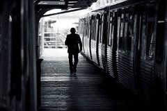246 (Alex Szymanek) Tags: light urban bw chicago silhouette train canon dark subway perspective platform el l shape 70200 markii