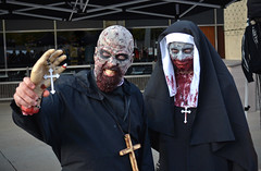 holy handy zombies (Mr.  Mark) Tags: halloween photo costume scary blood funny hand mask zombie stock makeup creepy priest gory 2014 torontozombiewalk markboucher