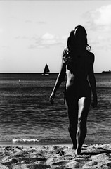 (fritz london) Tags: blackandwhite film beach 35mm hawaii model waikiki oahu highcontrast bikini pentaxk1000 honolulu expired smcpentaxm100mmf28 kodakkodalith labeauratoire