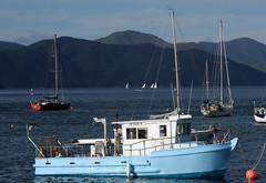 Waikawa Bay, South Island - 'Jessica' (Markus Lüske) Tags: new zealand newzealand neuseeland south island southisland picton lueske lüske boot boat ship schiff barco buque luske