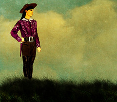 Contemplation (Calsidyrose) Tags: sky woman grass digital photoshop icon cowgirl myth archetype buffalobill annieoakley