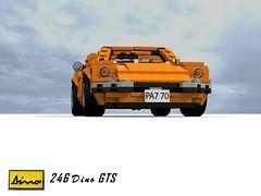 Ferrari Dino 246 GTS (lego911) Tags: auto birthday italy classic sports car spider model italian dino lego fiat render 206 ferrari spyder 45 24 f2 gt 7th challenge cad sportscar lugnuts v6 gts targa povray 84 moc 246 ldd miniland everythingunderthesun alfredino lego911 lugnutsturns7or49indogyears