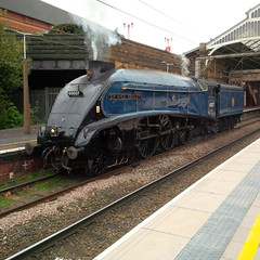 Photo of Sir Nigel Gresley steam loco at Preston station, 28-10-14 (Proplinerman) Tags: train engine loco steam preston locomotive steamlocomotive gresley sirnigelgresley nigelgresley