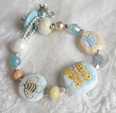 bird butterfly necklace beads ceramics handmade jewelry bee clay bracelet pottery bumble pendant