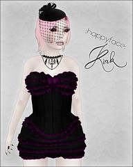 """:hf: """"Kink"""" // Noir/Magenta [Halloween Special] (:HF:  ) Tags: autumn ladies fall halloween clothing discount doll dress mesh girly womens sl secondlife gift boudoir corset chic strapless happyface bows pinup apparel classy hf ruffled corsetdress halloweenspecial slclothing secondlifecothing"""