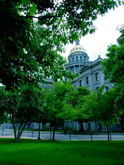 "Colorado State Capitol building wreathed in green leaves • <a style=""font-size:0.8em;"" href=""http://www.flickr.com/photos/34843984@N07/15537465531/"" target=""_blank"">View on Flickr</a>"
