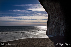 Black beach with columnar basalt
