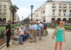 Greece, Macedonia, Thessaloniki, Aristotelous square, smiling girl in beach mood turquoise with retirees in backdrop (Macedonia Travel & News) Tags: macedonia ancient culture vergina sun thessaloniki philippi orthodox republic nato eu fifa uefa un fiba greecemacedonia macedonianstar verginasun aegeansea macedoniapeople macedonians peopleofmacedonia macedonianpeople mavrovo macedoniablog 240017528 macedoniagreece makedonia timeless macedonian macédoine mazedonien μακεδονια македонија travel prilep tetovo bitola kumanovo veles gostivar strumica stip struga negotino kavadarsi gevgelija skopje debar matka ohrid heraclea lyncestis macedoniatimeless