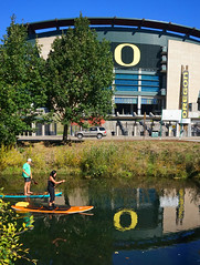 Autzen Paddle Boarding (Wolfram Burner) Tags: school college oregon campus football university o stadium ducks eugene uo uofo universityoforegon eugeneoregon uoregon autzen