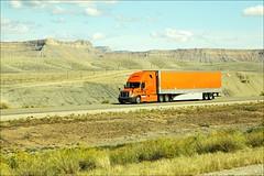 orange truck (loop_oh) Tags: auto road street usa car speed america truck utah movement jeep fast blurred amerika greatbasin