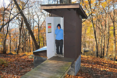 Lisa's opinion of the privy (Throwingbull) Tags: park autumn fall rock skyline four drive virginia spring cabin hiking 4 lisa hike trail hut national backpacking va backpack hiker recreation appalachian shenandoah sec backpacker section privy