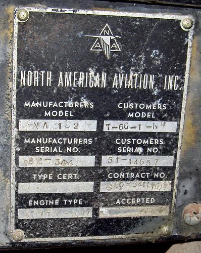 North American T-6G 51-14657-3  dataplate Chiang Mai 31Aug07