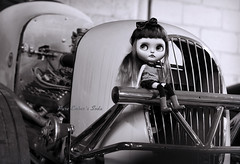 Shop of work? (pure_embers) Tags: pure laura embers blythe doll dolls custom photography uk england girl pureembers tiina soda emberssoda lip ring piercing portrait leather jacket rock chick tphotographs classic monochrome bw car