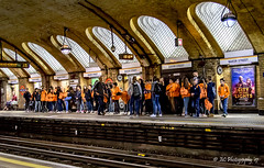 The Orange Brigade (Fermat48) Tags: bakerstreet underground london tube station orange schoolparty april8th 2017 canon eos 7dmarkii