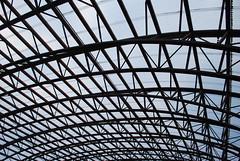 Linked Braced Layers (unclebobjim) Tags: utahbeach museum lattice metal steel curved straight lines beams trusses roof