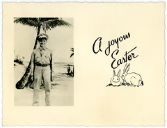 A Joyous Easter (Alan Mays) Tags: ephemera greetingcards greetings cards eastercards photographs photos foundphotos photographicgreetingcards easter holidays rabbits bunnies animals men soldiers uniforms hats clothing clothes military beaches shores seashores oceans water trees palmtrees antique old vintage typefaces type typography fonts