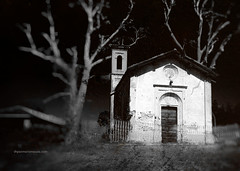 The Little Church (Gianmario Masala) Tags: textures textured photoshop gimp blur blurry photograph gianmariomasala trees cracked darksky pavia italy church building blackandwhite monochrome