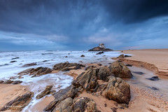 Capela (gracampereira) Tags: capela sr da pedra rocks seascape portugal sunset canon clouds tempestade lee chapel miramar sea