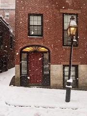 Beacon Hill ((Jessica)) Tags: boston snow slanted streetlight crooked beaconhill door