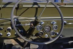 WWII Jeep dashboard - Shoppers' World car cruise, Brampton, Ontario (edk7) Tags: nikond60 nikonlensseriese50mm118 edk7 2010 canada ontario peelregion brampton shoppersworld vintage car cruise wwii jeep dashboard gauge pedal steeringwheel