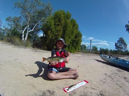 Josh with his 34cm red fin (English Perch)