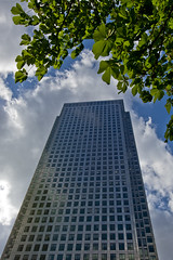 Steel and Wood.  One Canada square, Docklands, London, E14 (MJ Reilly) Tags: skyscraper office officeblock londonskyline london nikon d7200 nikond7200 londone14 canarywharf 1canadasquare canadasquare modernarchitecture skyline sky cloud tree leaves green horsechestnut urban city