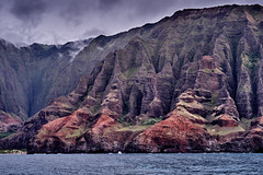 Colorful Coastline (AgarwalArun) Tags: sonya7m2 sonyilce7m2 hawaii kauai island landscape scenic nature views mountain fog clouds napalicoast pacificocean ocean water waves surf napali ruggedcoastline cliffs