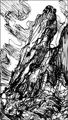 Torqued Pinnacle in October (Kerry Niemann) Tags: october inkdrawing pinnacle superstitionmountain