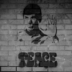 Peace (pigpogm) Tags: startrek blackandwhite streetart monochrome wall graffiti stencil birmingham peace photos spock vulcan voigtlander40f14 mxpp