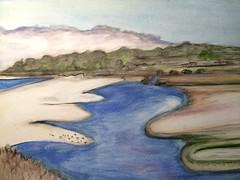 Latest watercolor of the Carmel River Lagoon by Lolo (LOLO Italiana) Tags: ca art water watercolor landscape carmel carmelriverlagoon loloitaliana loridambrosio