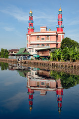 Yamiyatun Muslimin Mosque (atsushi photography) Tags: morning boy sky people cloud man reflection tree water architecture thailand canal asia southeastasia bangkok religion culture mosque