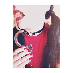 little #Lola wants to #play... (crys.doniz) Tags: red me long play heart little lola nails lolita redlipstick pigtails collar spikes handcuffs uploaded:by=flickstagram instagram:photo=794217339705692888307516859