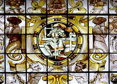 loch lomond scotland stained glass 1 (RDW Glass) Tags: window yellow scotland amber stainedglass cherub loch lomond satyr arden 1860 constancy silverstain auchendennan
