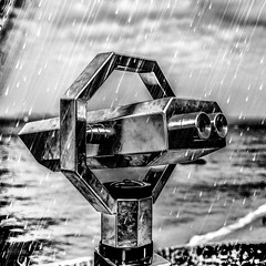 Some people feel the rain, others just get wet (Bob Marley) (Peter Jaspers(now and then)) Tags: blackandwhite bw france wet rain square french coast blackwhite brittany bretagne olympus breizh panasonic binocul