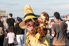 Curiosity Killed the Monkey (H. Evan Miller) Tags: monkey george newjersey zombie sony asburypark curiousgeorge curious yellowhat nex zombiewalk hevanmiller nex6 sel18200le