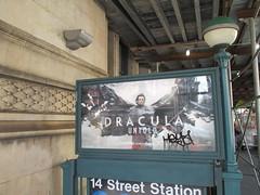 Dracula Untold 2014 Subway Entrance on 14th Street 9649 (Brechtbug) Tags: street new york city nyc film monster night movie subway poster evening evans vampire luke ad entrance dracula billboard undead monsters 14th nite advertisment vlad tepes 2014 untold 10092014