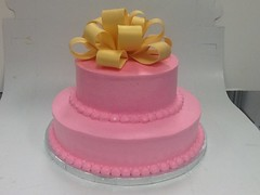 Pink with yellow bow