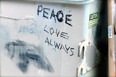 "PEACE LOVE ALWAYS Graffiti on dumpster • <a style=""font-size:0.8em;"" href=""http://www.flickr.com/photos/34843984@N07/15354002508/"" target=""_blank"">View on Flickr</a>"