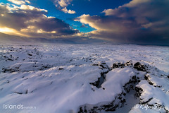 Lava field cowered with snow