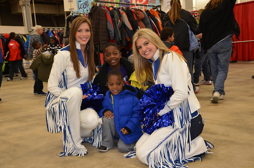 Colts cheerleaders visit with the kids