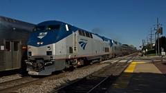 Just passing by (PrairieRailfan) Tags: amtrak commuter metra meet bnsf californiazephyr chicagosub nikond2xs p42dc amtk41 westmontilcassave copyright2014michaelmatalis