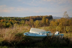 Amber Waves (TW Collins) Tags: autumn newyork fall rural boat upstate hills foliage land outofplace buskirk rensselaercounty boatoutofwater westhoosickhills