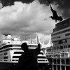 Canada Place (. Jianwei .) Tags: street cruise urban cloud bird vancouver feeding seagull sony silhouettes moment canadaplace timing nex kemily